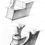Линейно-конструктивный анализ части лица (челюсть). Карандаш.