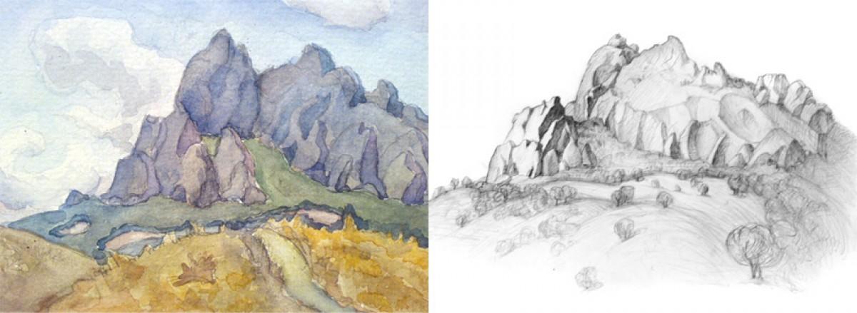 соглашение рисунок горы цветными карандашами поэтапно отлично подойдет